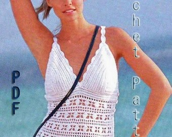 Woman Crochet Pattern in pdf, top, Cover up. .