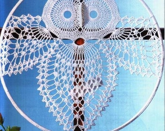 Crochet Pattern Instruction for Owl home decoration in charts. Dream Catcher.
