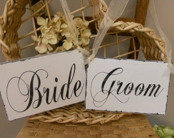 Wedding Signs..Bride and Groom/Thank You Chair signs..REVERSIBLE.Photo prop wedding day signs..