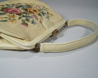 Needlpoint Bag in Soft Cream Yellow - Leather construction by Artbags, Madison Ave, NY