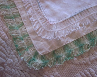 Pair 2 Vintage Hankie White Cotton Embroidered Intricate Thread Trim Green Ombre
