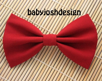 Rich Red Fabric Hair bow for teens or women,girls hair bows,basic hair bows , Hair Bows