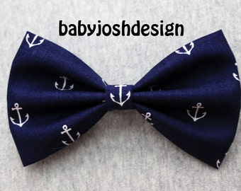 Navy Anchor Fabric Hair bow for teens or women,girls hair bows,basic hair bows , Hair Bows