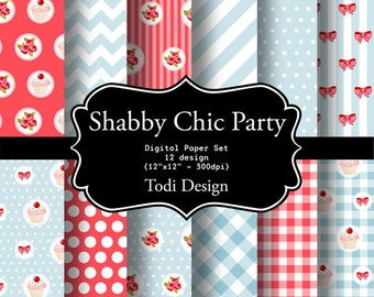 Shabby Chic Party- INSTANT DOWNLOAD Digital Paper Set