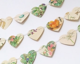 Heart garland, paper hearts, wedding decor, heart bunting, Spring banner, Valentine's Day decor