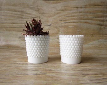 Hobnail Milk Glass Votive Candle Holders Set of Two