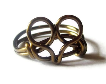 Heart Ring - Custom Size Victorian Jewelry - Bohemian Rings - Antique Brass Ring - Heart Jewelry