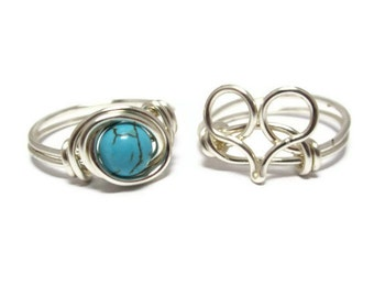 Turquoise Ring and Heart Ring Jewelry Set - Silver Rings - Boho Jewelry - Silver Jewelry Set