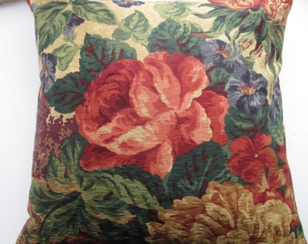 RED FLOWER Pillow Cover,  Designer Fabric Big Flower Design (18x18 inches)