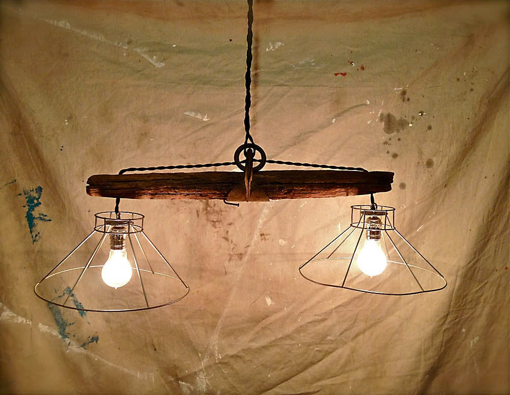 Rustic Primitive Hanging Pendant Lights Upcycled Farm