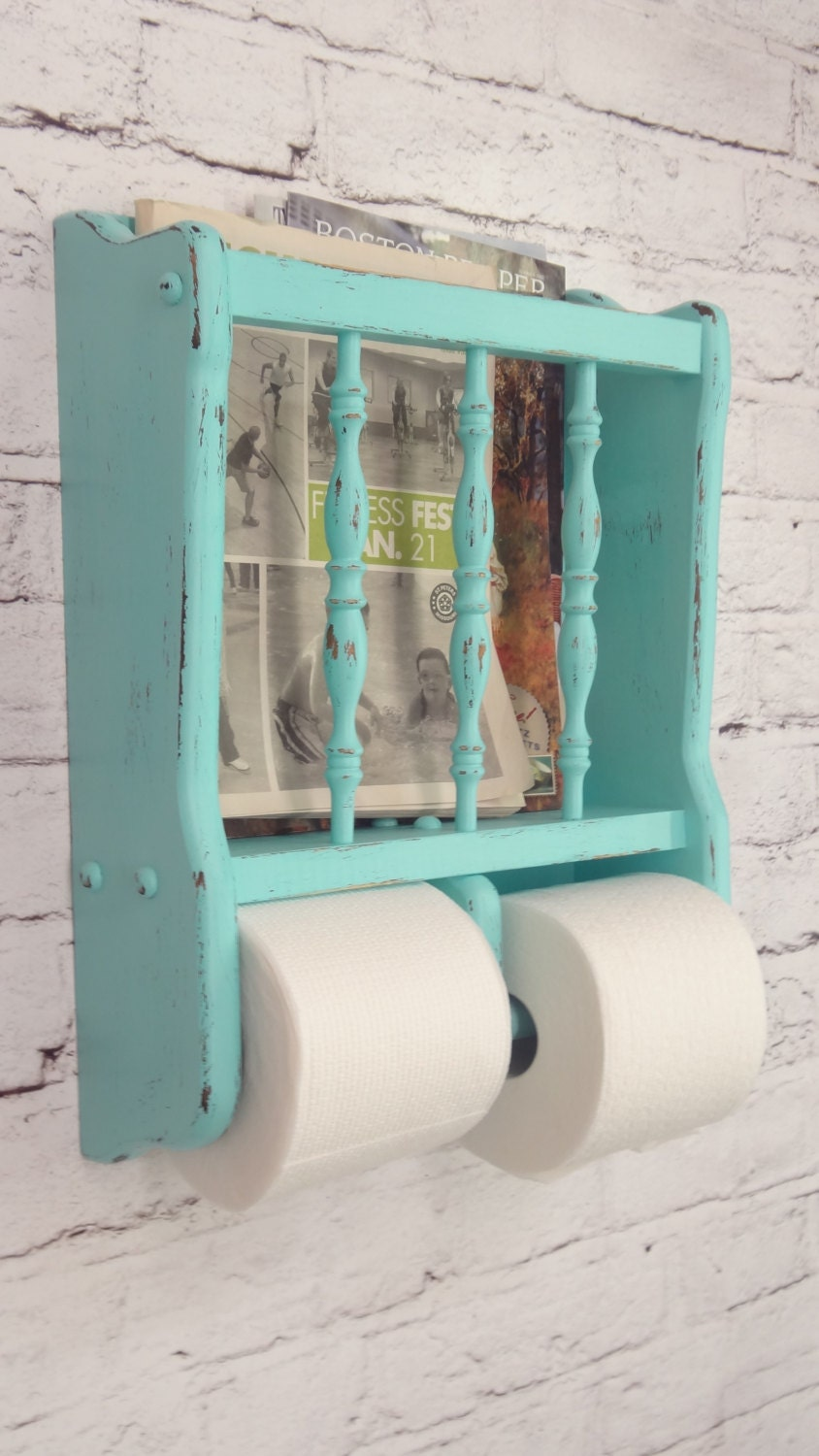 Shabby Chic Toilet Paper Holder Magazine Rack