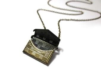 CLEARANCE - Envelope Locket Antique Brass Necklace