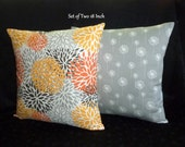 Decorative Accent Pillow Covers -Set of Two 18 Inch in yellow, orange, grey and brown on White