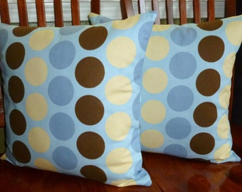 Pillows,Decorative Pillows, Accent Pillows, Pillow Covers, Throw Pillows, Home Decor - Two18 Inch Baby Blue and Brown
