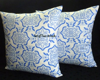 Decorative Throw Pillows - Set of Two 18 Inch Pillow Covers - Royal Blue and White