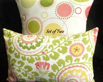 Decorative Pillow Covers  - Set of Two - Green, Pink, and Yellow on White background