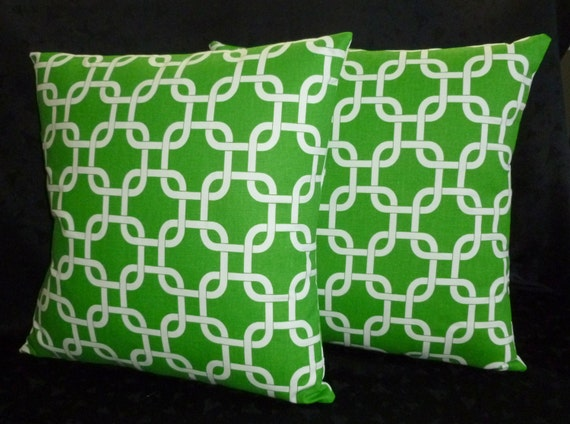 Decorative Pillow Covers in Kelly Green and White Two by berly731