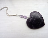 Heart Pendant-Amethyst Heart Pendant-Extra Large Amethyst-Metaphysical-Healing-Sixth Chakra-February