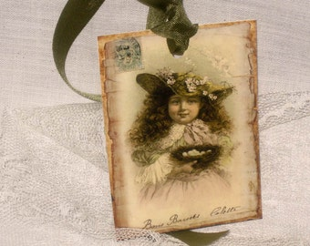 Gift Tags, Vintage Inspired Collete's Robin Eggs and Nest CHILD008 ECS