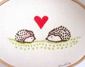 """Handmade Embroidery """"Hedgehog Love"""" OOAK Home Decor Wall Art In Pink, Brown, Green and Red"""
