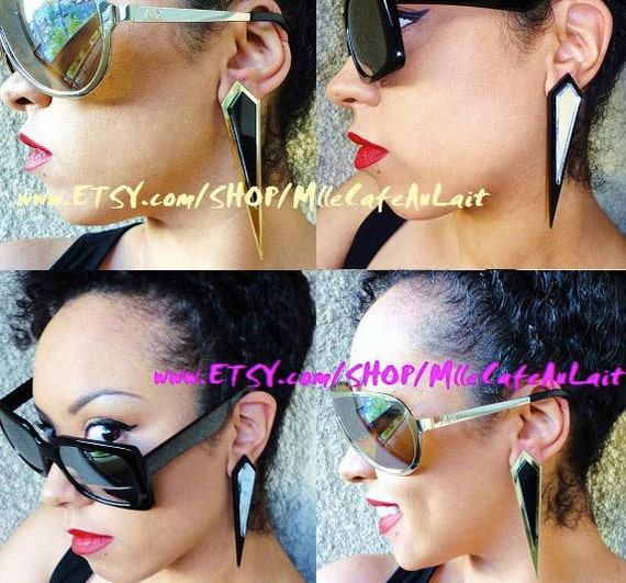 LAST Pair Geometric Diamond Spike, Laser Cut Acrylic Post Stud Earrings - DIAMOND DAGGERS