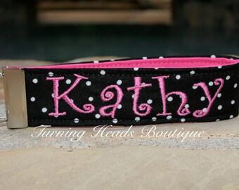Personalized Key Fob/  Monogrammed wristlet  Key chain /  Fabric luggage tag/ Teacher gift