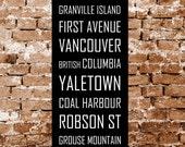 Vancouver Canada Subway Sign, Bus Blind Metro Translink British Columbia Scroll Vintage Style Destination Art Print on Styrene 12 x 36