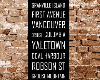 Vancouver Canada Subway Sign, Bus Blind Metro Translink British Columbia Scroll Vintage Style Destination Art Print on Styrene 12 x 36