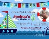 Sailboat Invitation Photo Birthday Party Printable summer pool swim party nautical boat sailor