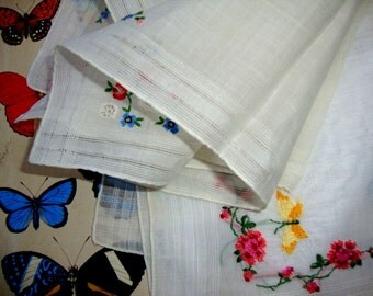 Two 1920's Vintage White Cotton Embroidered Handkerchief Wedding Batiste Cambric Fabric Vintage Linens Needlework