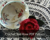 PDF Crochet Pattern - Red Rose Brooch - crocheted jewelry - crocheted rose pattern - instant download - sell what you make