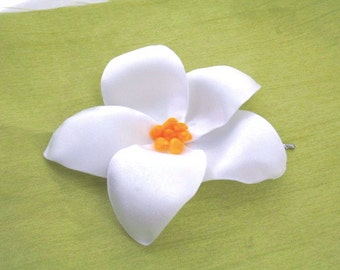 Plumeria Flower Hair Pin in White