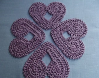 4 Pcs Handmade Cotton Crochet Heart Coaster...Crochet Pattern