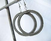 Large Hoop Earrings - Crochet Earrings in Dark Gray