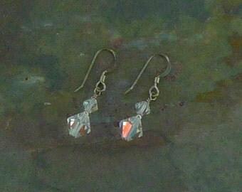 Clear Aurora Borealis Swarovski Crystal Clear AB Colorful Wedding Prom Sterling Earrings