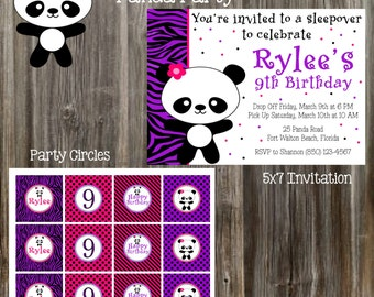 Panda - Pink, Purple and Black Birthday Party Package - Girl DIY Printable