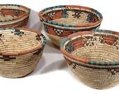 4 Hausa Baskets Bowls Nigeria Handwoven Women African 79640