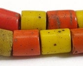 Asian Glass Trade Beads Red and Yellow Old - africadirect