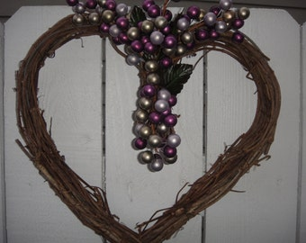 Heart Wreath  Valentine Wreath   Valentine Gift  Valentine Decor  Anniversary Wreath  Wedding Wreath  Grapevine Wreath  Door Wreath