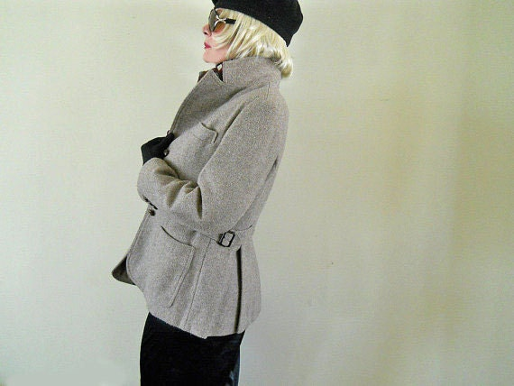 Womens Blazer 70s Jacket Nubby Tweedy Understated Details