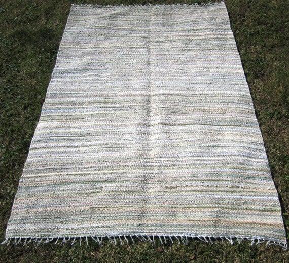 Rag Rug Large: Large Handwoven Vintage Look Rag Rug 7' X 6' Custom
