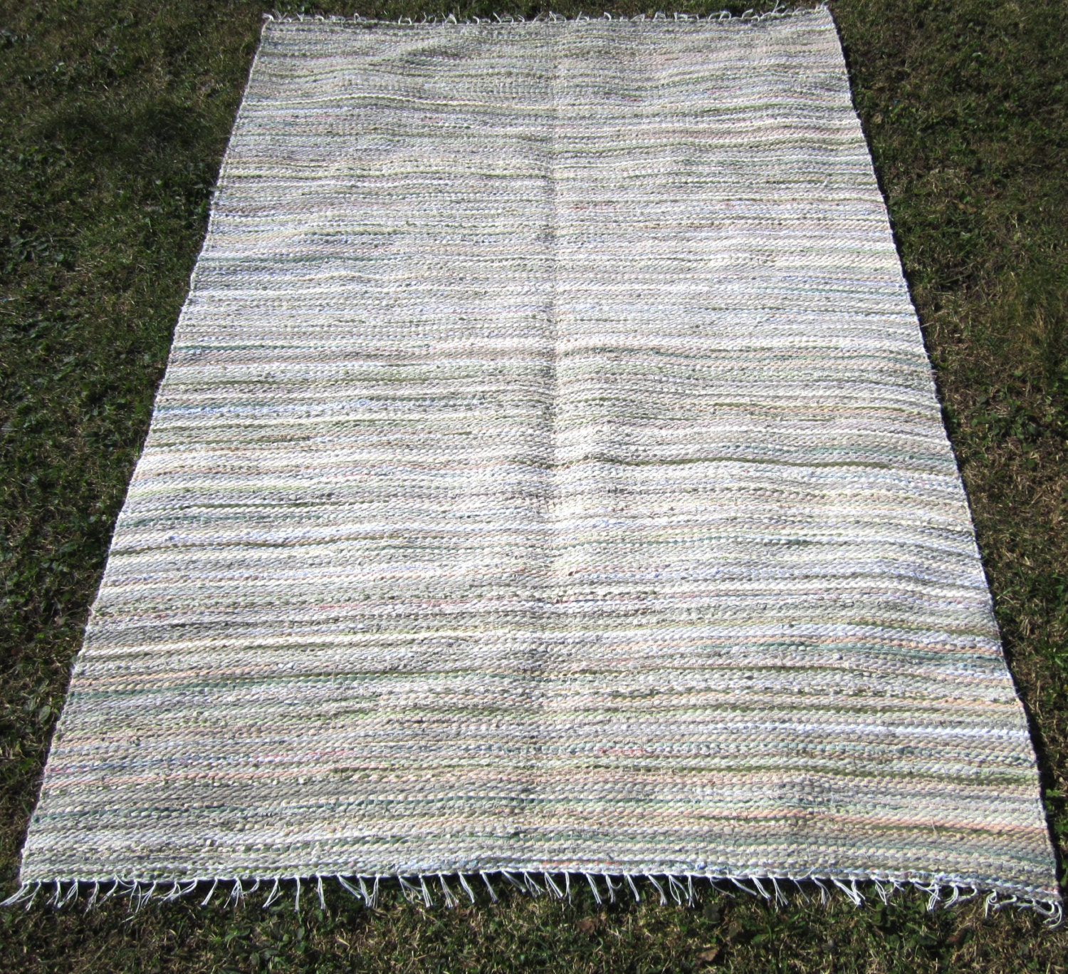 Large Handwoven Vintage Look Rag Rug 7' X 6' Custom
