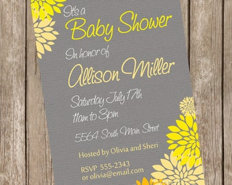 Neutral Baby Shower Invitation Yellow and Grey Flower printable invitation