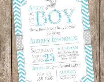 Chevron Ahoy it's a boy baby shower invitation, blue, grey, anchor, nautical, printable invitation