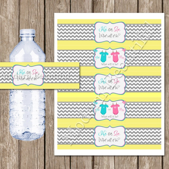 Gender Reveal Water Bottle Labels Pink Blue Yellow