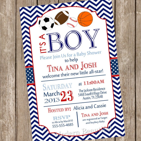 items similar to all star sports baby shower invitation, football, Baby shower invitations