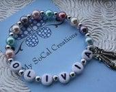 Multi Color Glass Pearl Stretch Bracelet /Personalized ID Bracelet /Ballerina Charm Bracelet / Ballet Shoes/keepsake jewelry