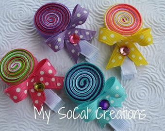 LOLLIPOP Ribbon Sculpture Hair Clip / No Slip Hair Clippie