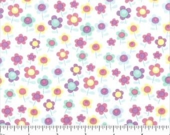White Fabric Pastel Flowers White Cotton Fabric Fat Quarters - or BTY Floral Fabric Cotton Quilting Fabric Craft Supplies YacketUSA