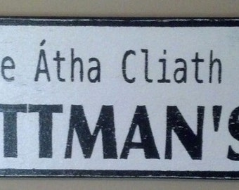 Personalized Ireland Street Sign With Gaelic Phrase Of Your Choice and Number